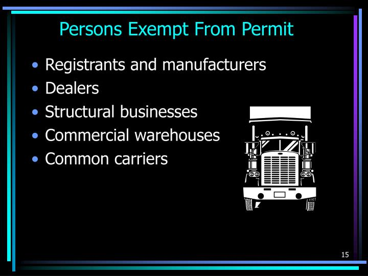 Persons Exempt From Permit