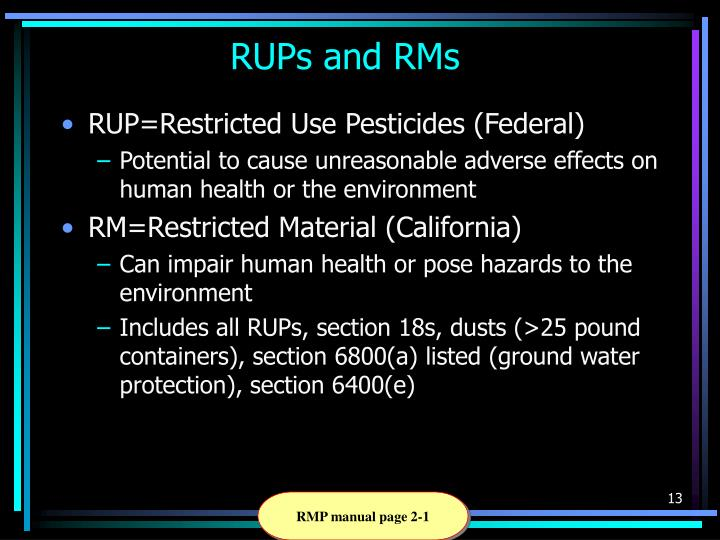 RUPs and RMs