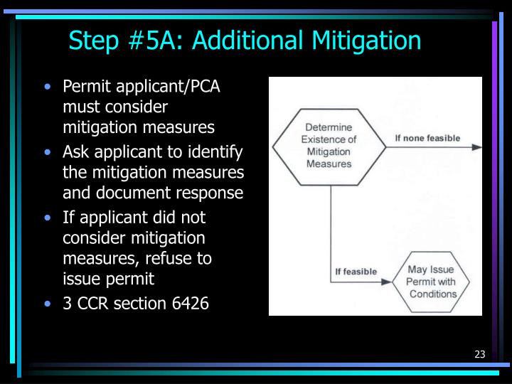 Permit applicant/PCA must consider mitigation measures