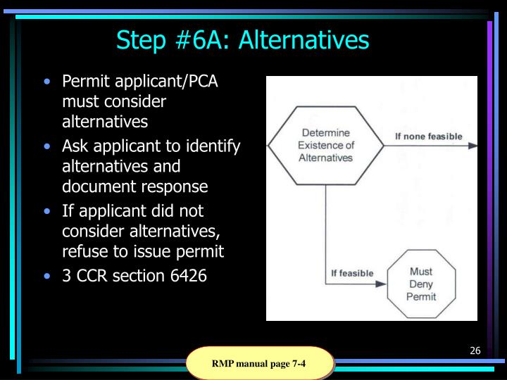Permit applicant/PCA must consider alternatives