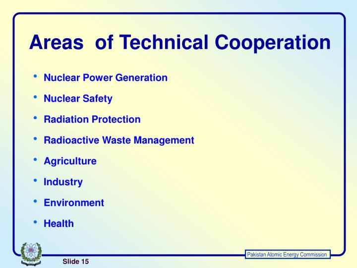Areas  of Technical Cooperation