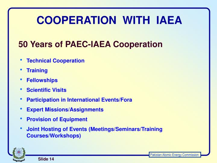 COOPERATION  WITH  IAEA