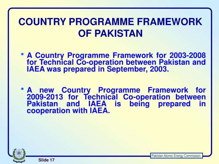 COUNTRY PROGRAMME FRAMEWORK OF PAKISTAN