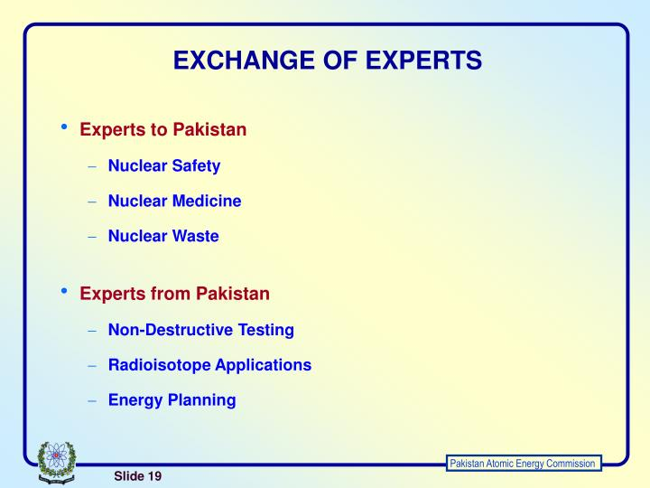 EXCHANGE OF EXPERTS