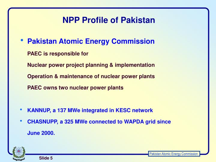 NPP Profile of Pakistan