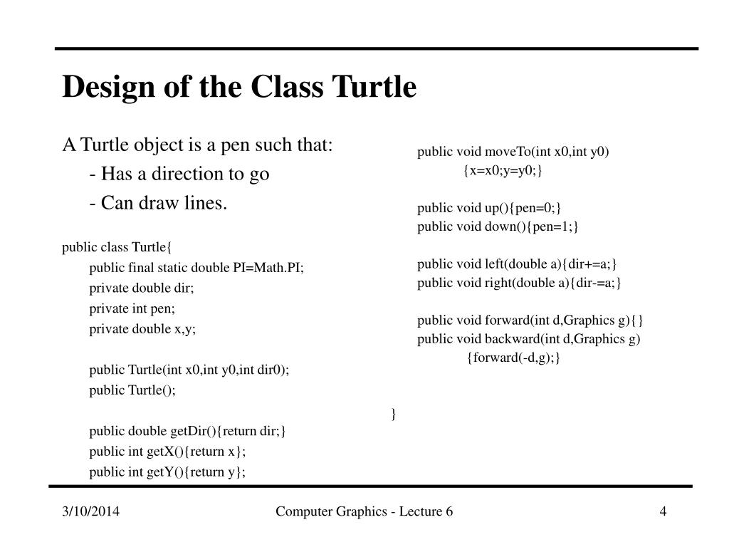 Design of the Class Turtle