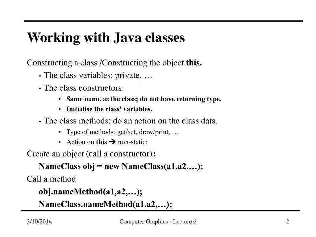 Working with Java classes