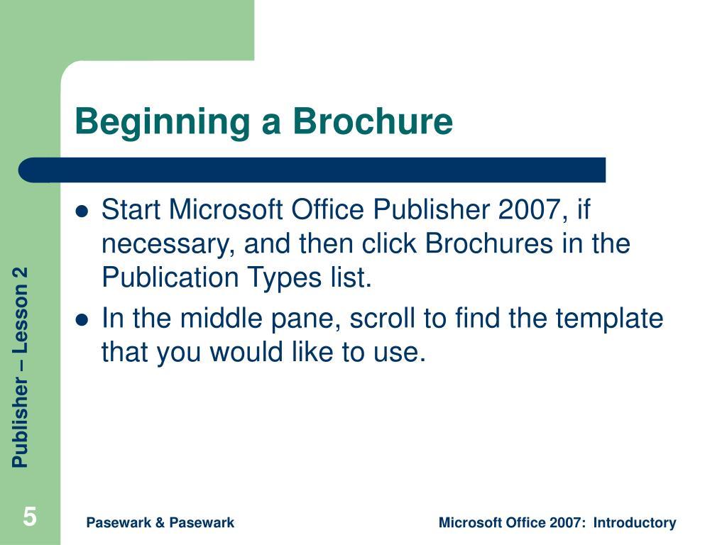 Beginning a Brochure