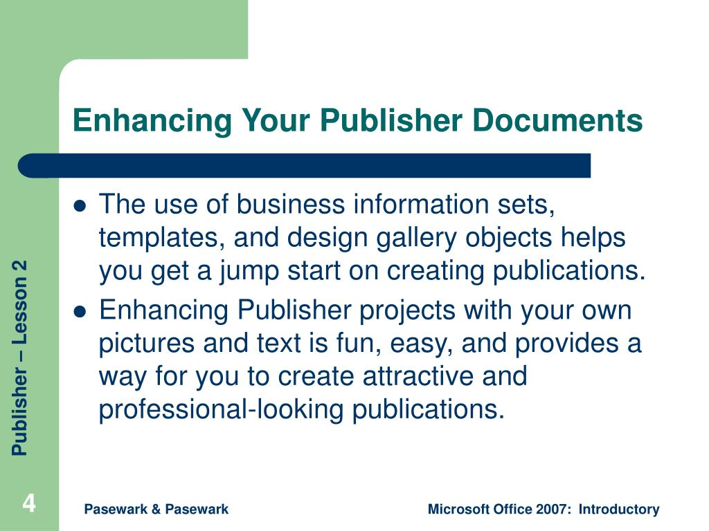 Enhancing Your Publisher Documents
