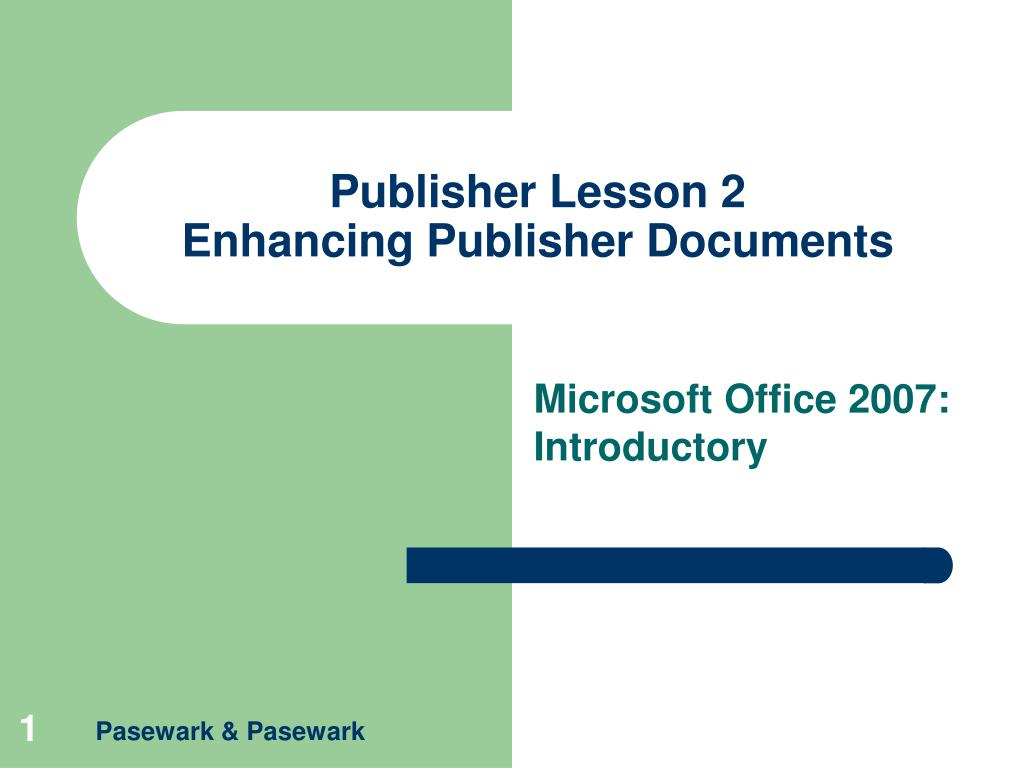 Publisher Lesson 2