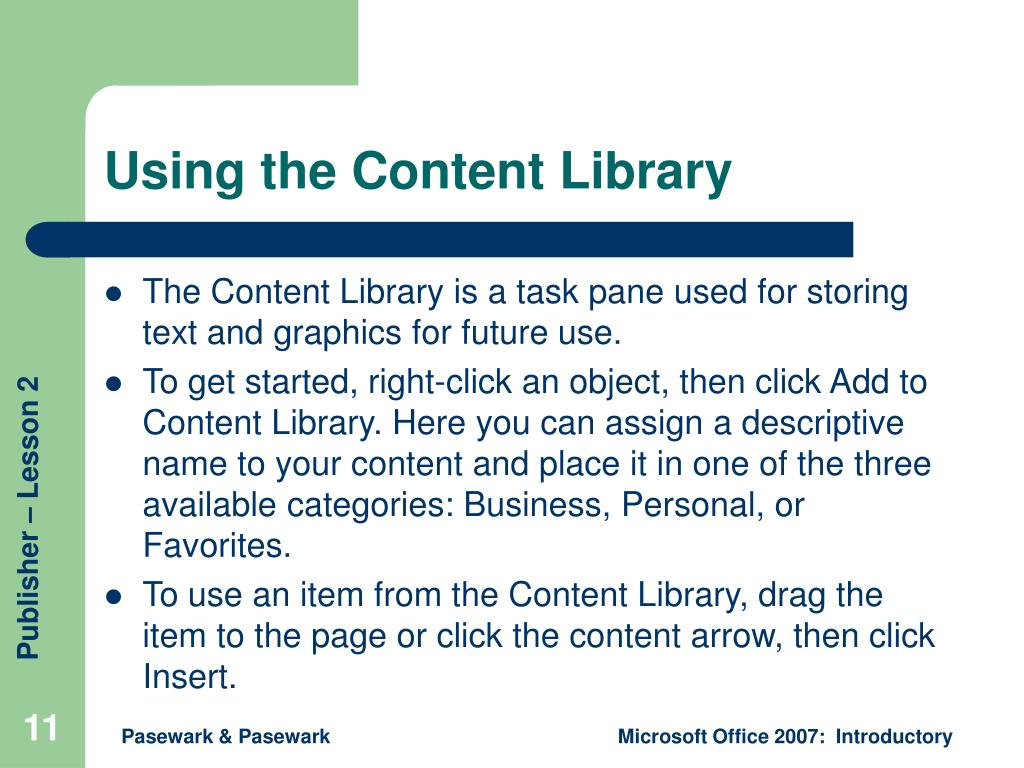 Using the Content Library