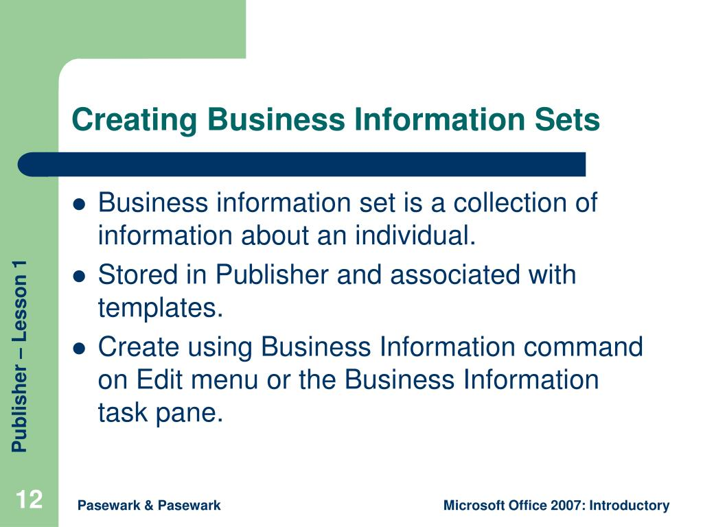 Creating Business Information Sets