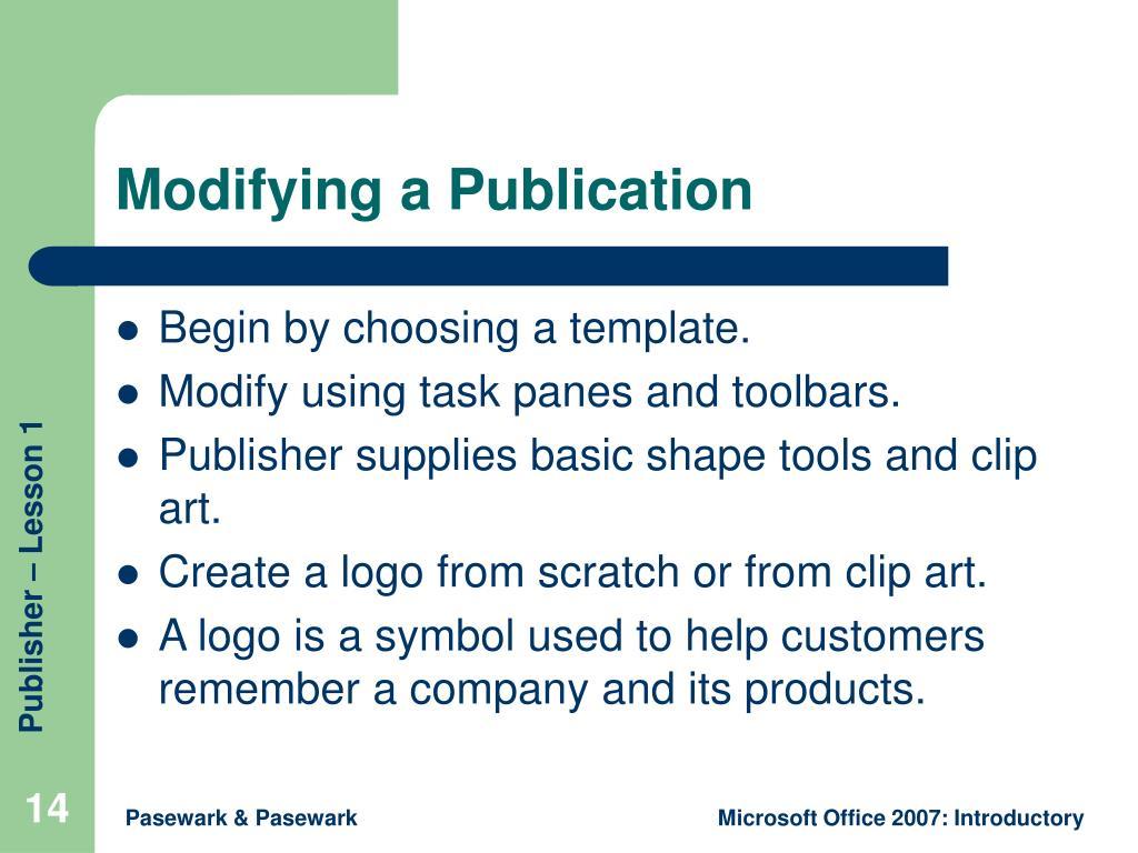 Modifying a Publication