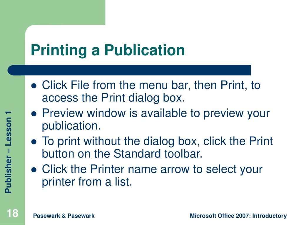 Printing a Publication