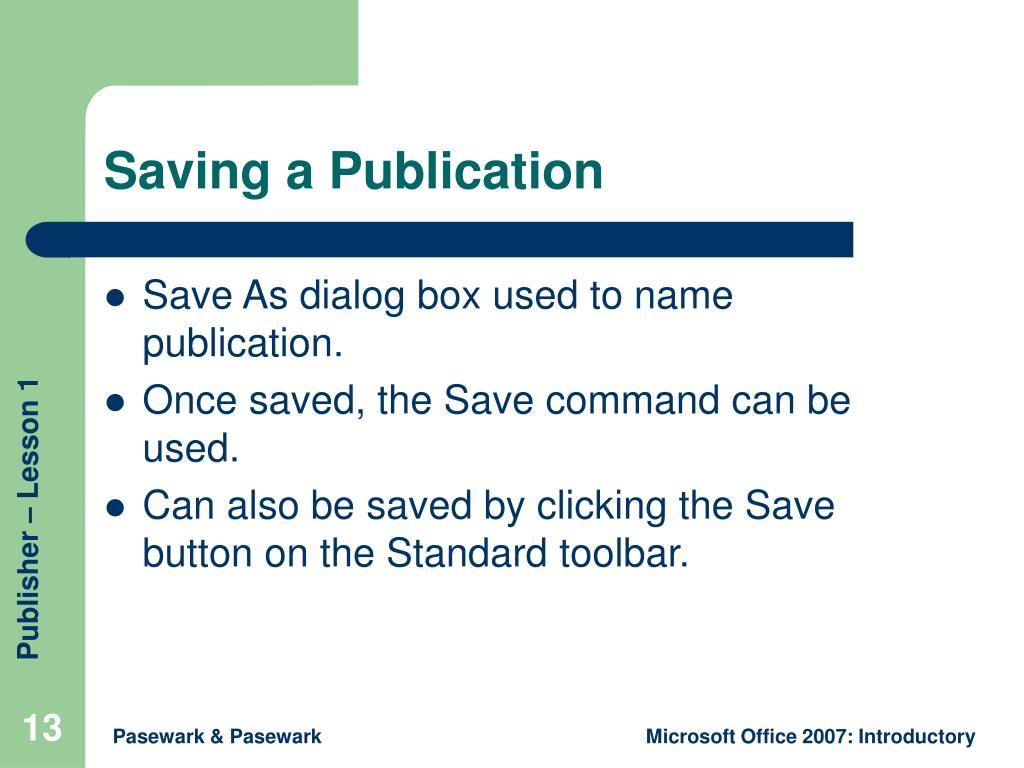 Saving a Publication
