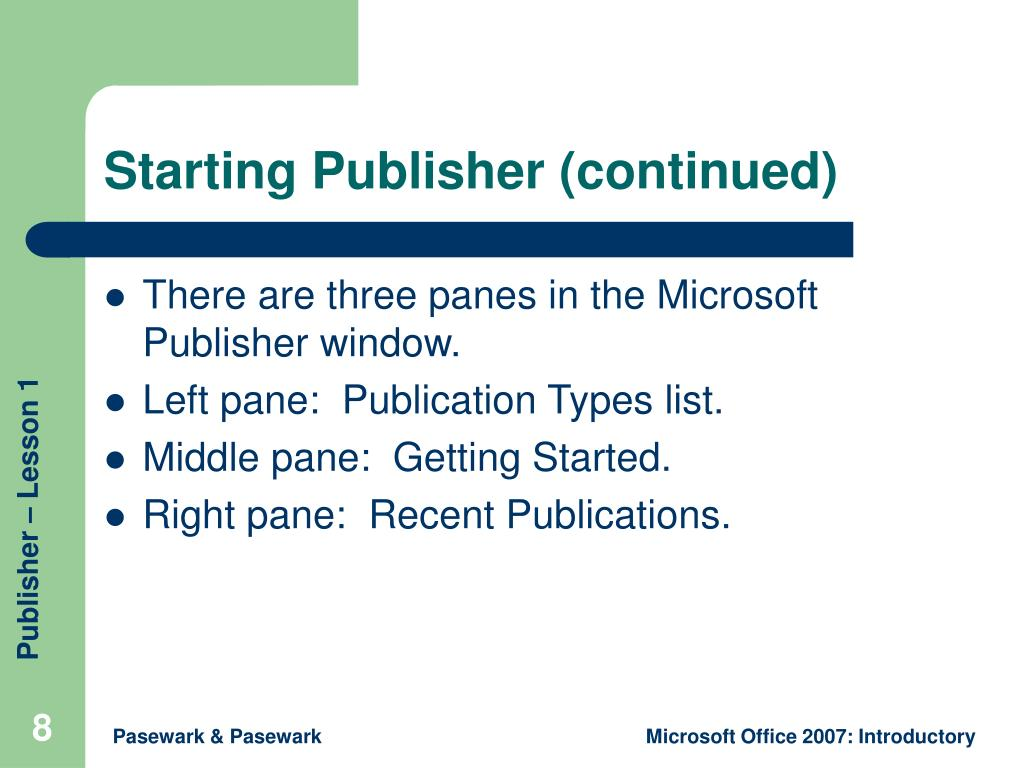 Starting Publisher (continued)