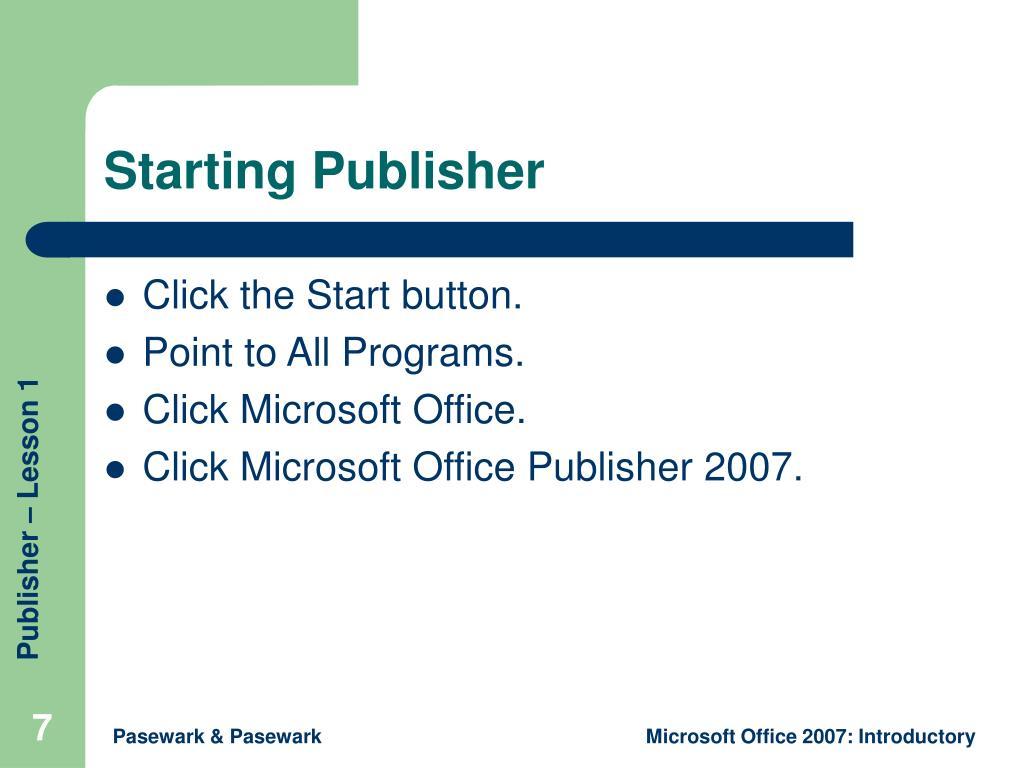 Starting Publisher