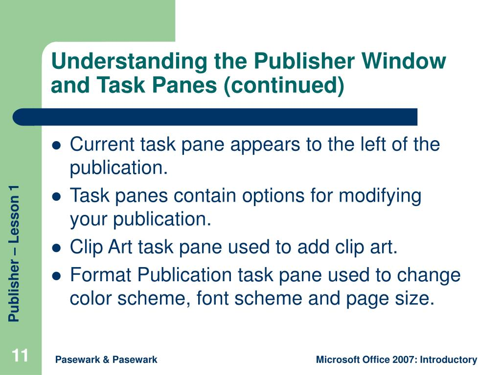 Understanding the Publisher Window and Task Panes (continued)