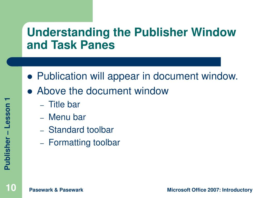 Understanding the Publisher Window and Task Panes