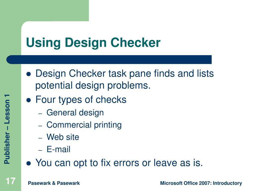Using Design Checker