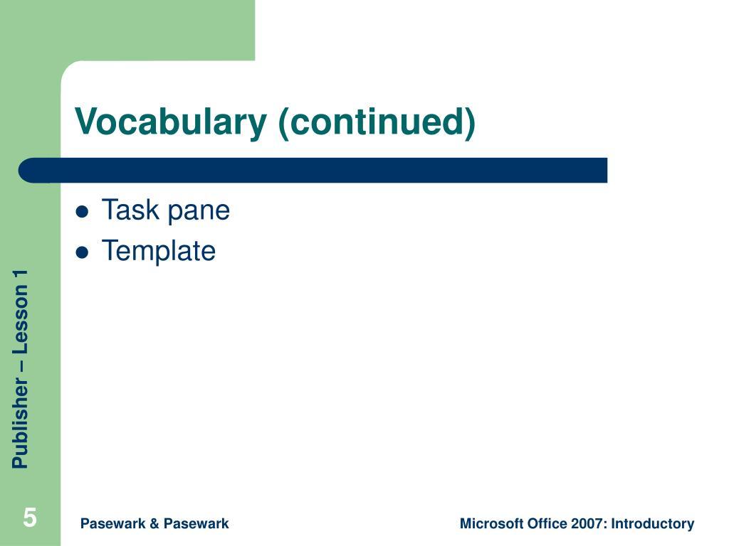 Vocabulary (continued)