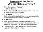 reasons for the terror why did stalin use terror