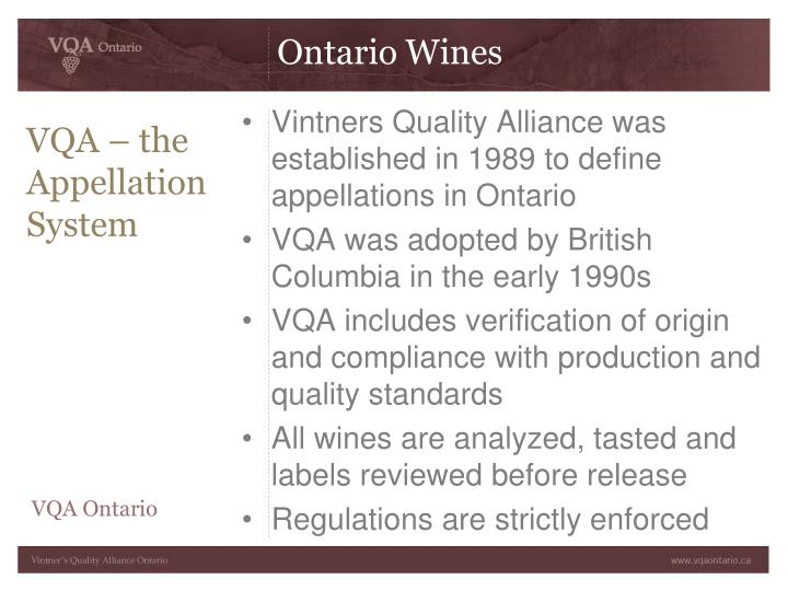 VQA – the Appellation System