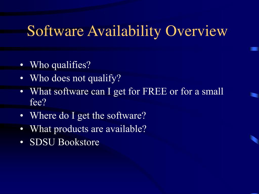 Software Availability Overview