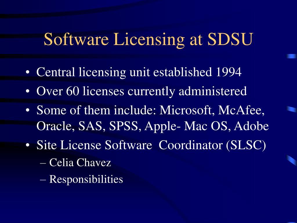 Software Licensing at SDSU