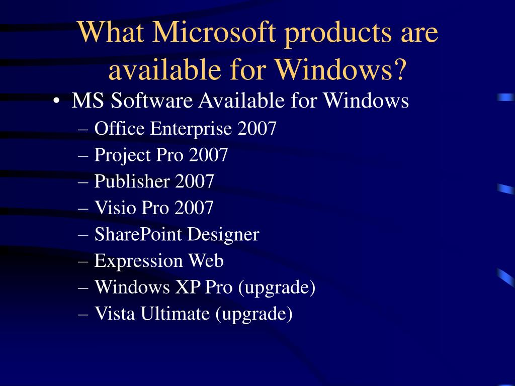 What Microsoft products are available for Windows?