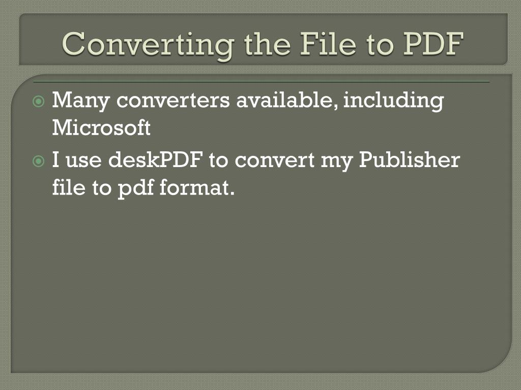 Converting the File to PDF