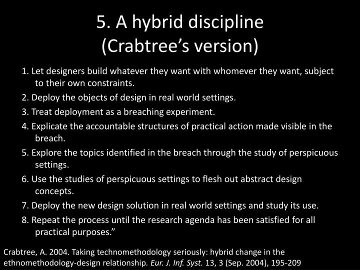 5. A hybrid discipline