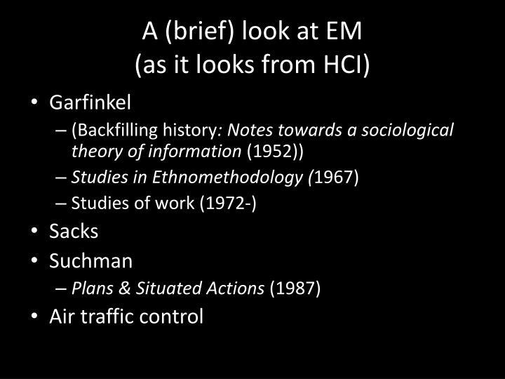 A (brief) look at EM