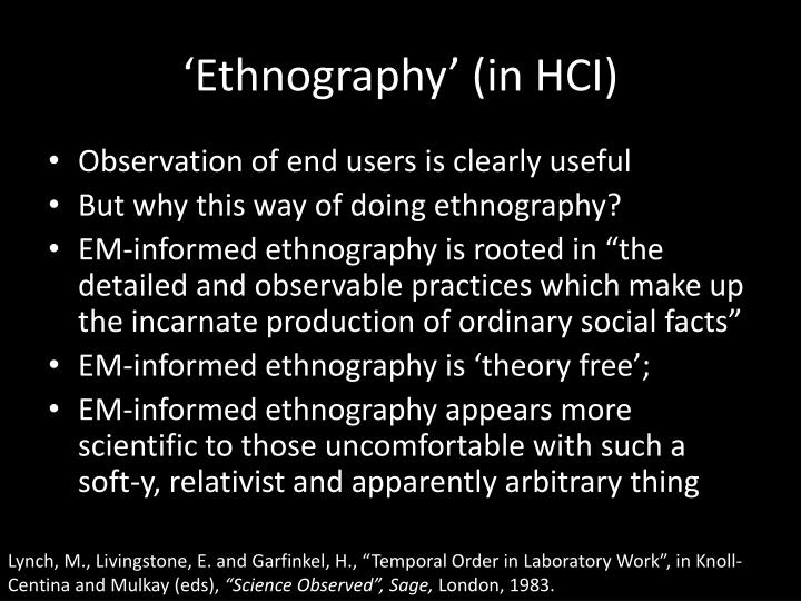 'Ethnography' (in HCI)