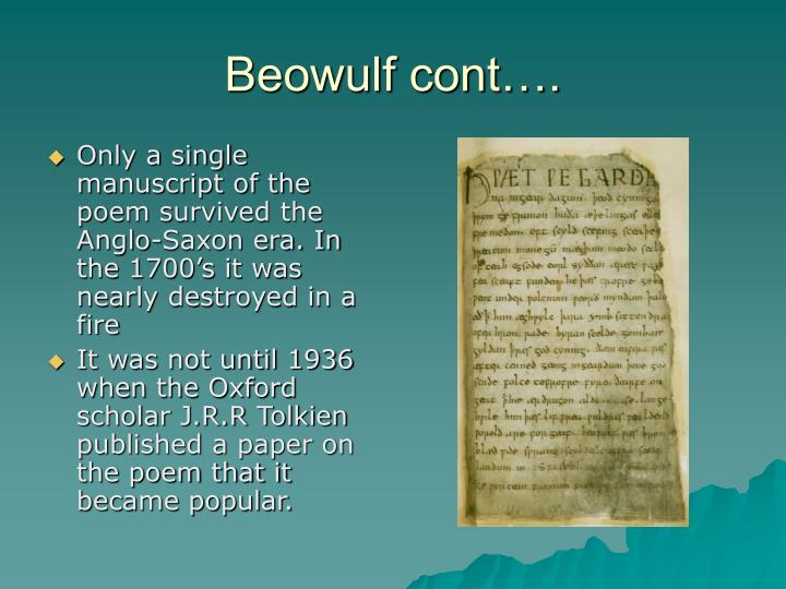 Beowulf cont….