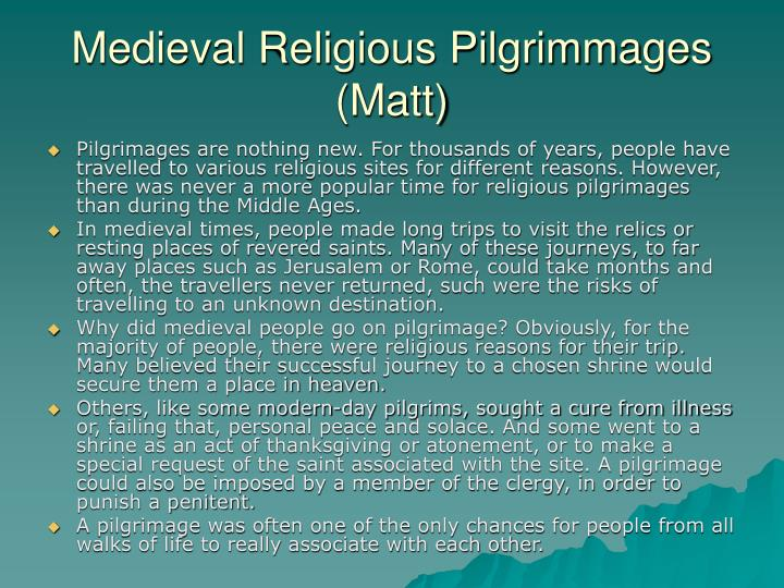 Medieval Religious Pilgrimmages