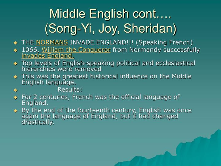 Middle English cont….