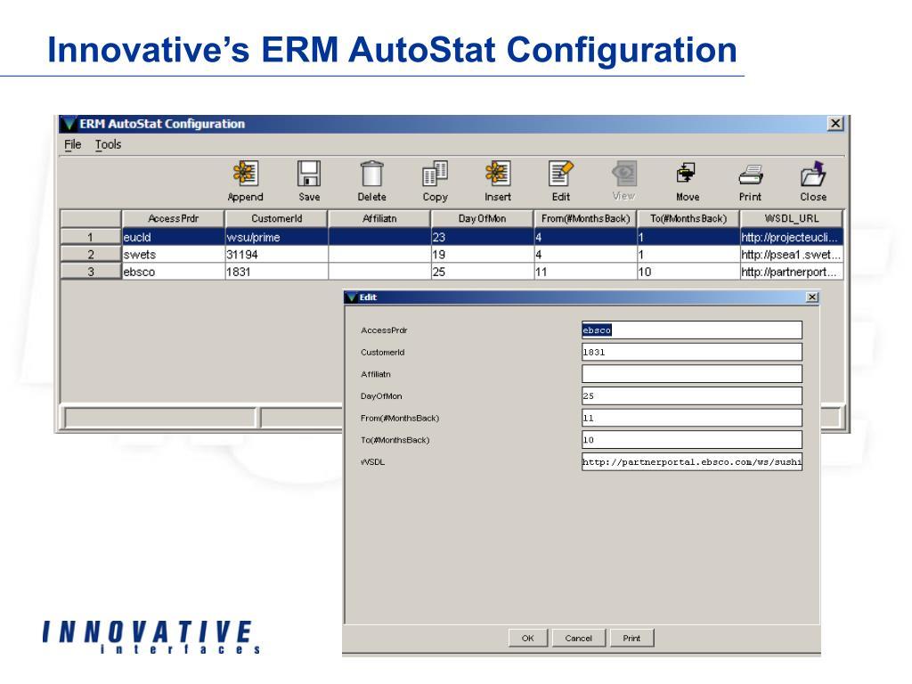 Innovative's ERM AutoStat Configuration