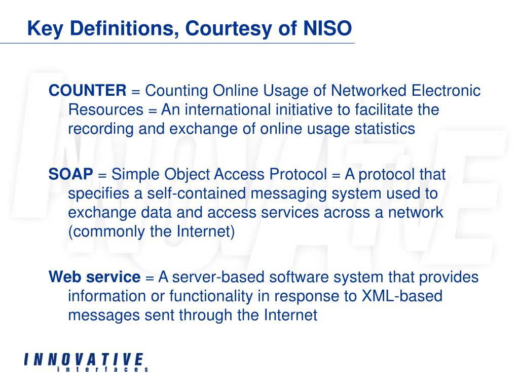 Key Definitions, Courtesy of NISO