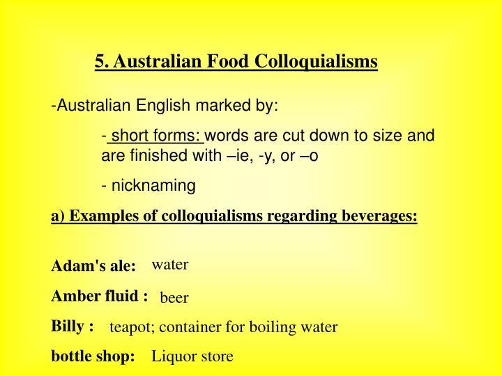 5. Australian Food Colloquialisms
