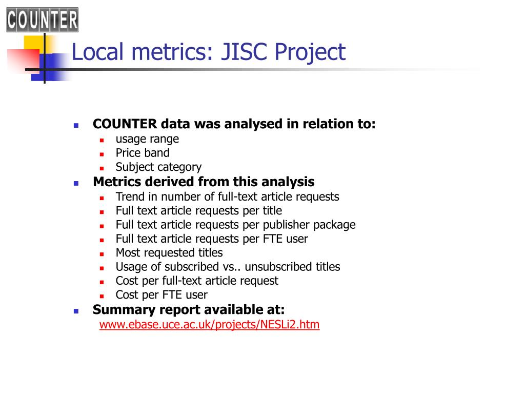 Local metrics: JISC Project