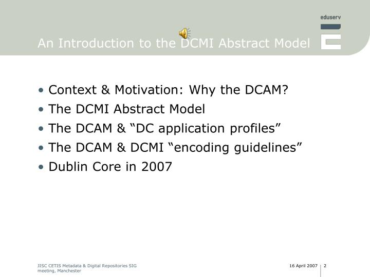 An introduction to the dcmi abstract model2
