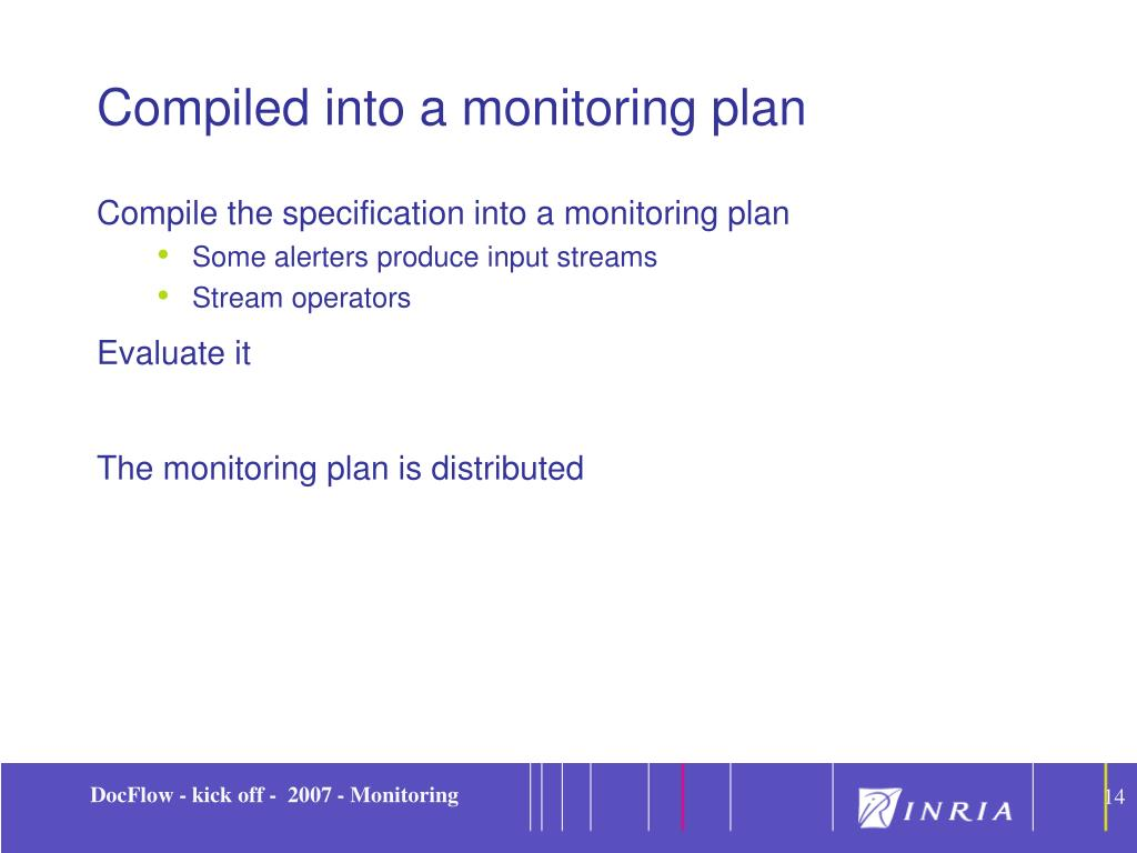 Compiled into a monitoring plan