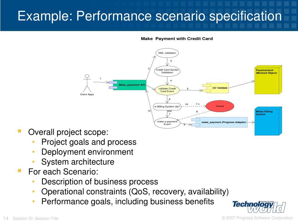 Example: Performance scenario specification