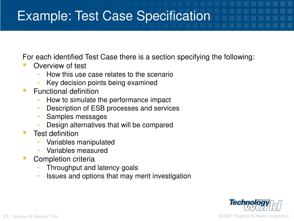 Example: Test Case Specification