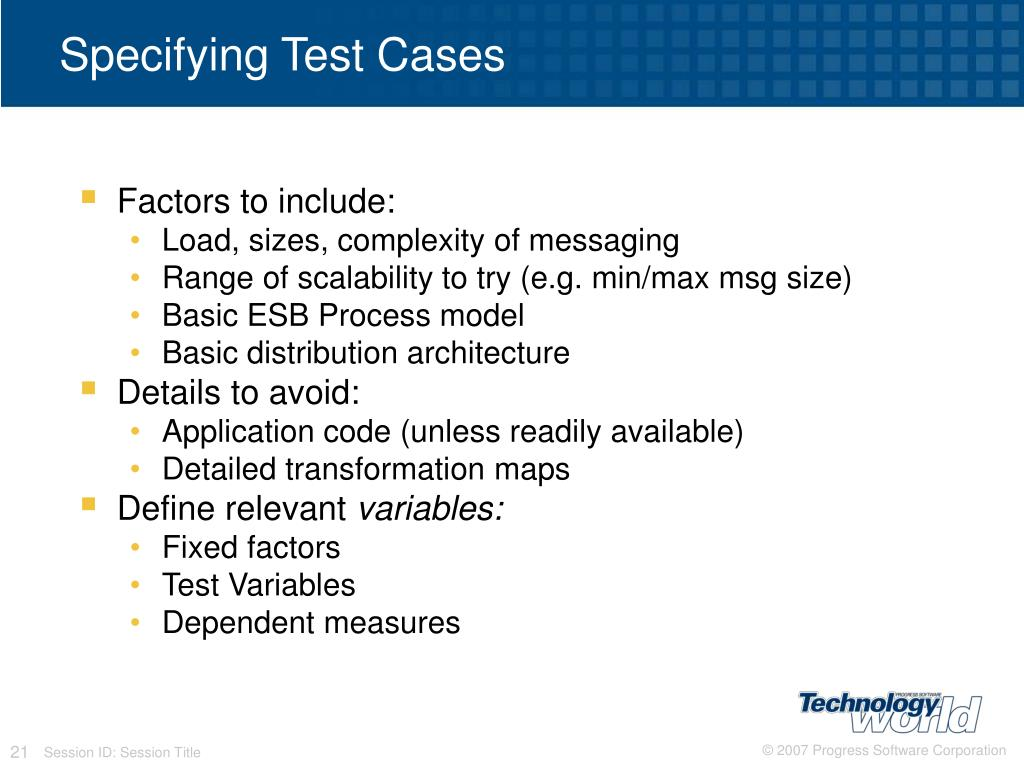 Specifying Test Cases