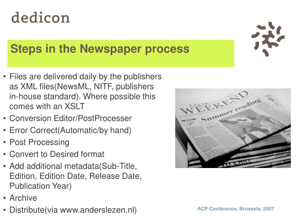 Steps in the Newspaper process
