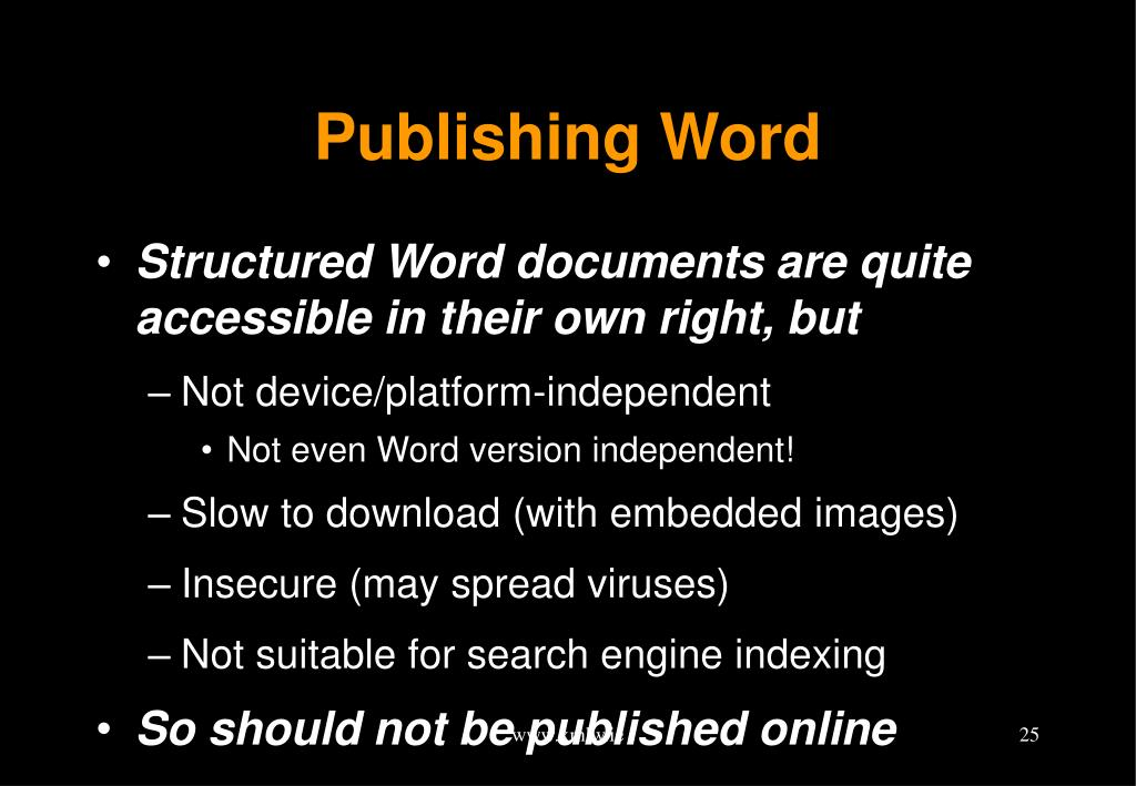 Publishing Word