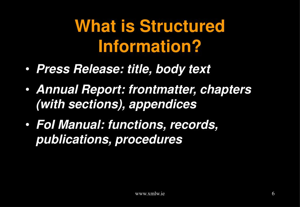 What is Structured Information?