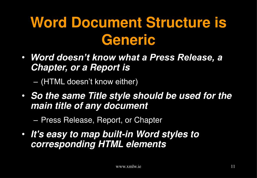 Word Document Structure is Generic